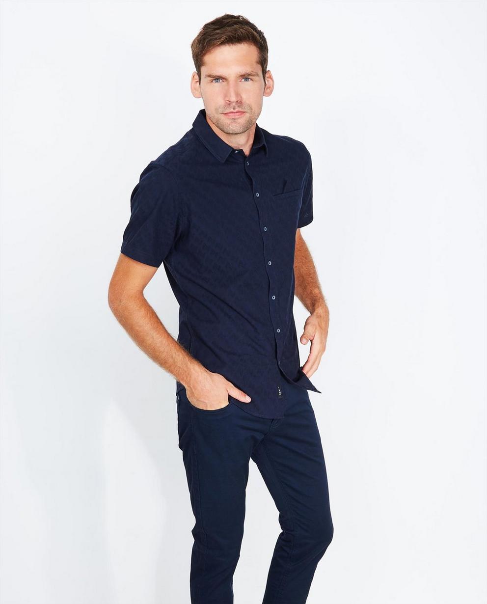 Chemise bleu nuit - à motif délicat - Iveo